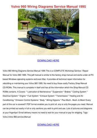 Volvo 960 Wiring Diagrams Service Manual 1995 by ...