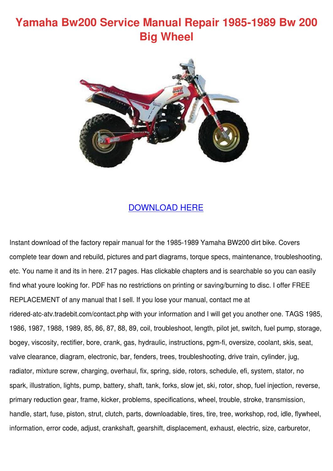 yamaha bw200 service manual repair 1985 1989 by. Black Bedroom Furniture Sets. Home Design Ideas