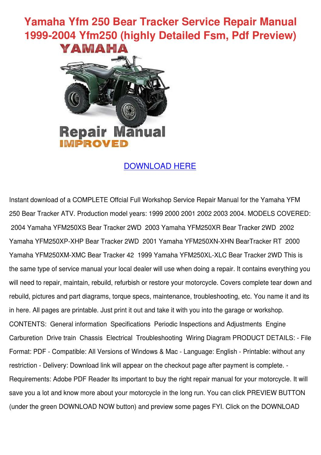 2001 Yamaha Bear Tracker Wiring Diagram | Wiring Diagram on yamaha 250 cdi wire diagram, yamaha xs650 wiring-diagram, 2002 yamaha bear tracker wiring-diagram, yamaha yfm250xl bear tracker wiring-diagram, 1999 yamaha bear tracker wiring-diagram, yamaha bear tracker 250 parts, yamaha road star wiring-diagram, yamaha 4 zinger wiring-diagram, yamaha bear tracker 250 engine diagram, yamaha r1 wiring-diagram, yamaha 350 big bear, yamaha 250 4 wheeler engine diagram, yamaha banshee wiring-diagram, yamaha dt 250 wiring diagram, 99 yamaha yfm600 wiring-diagram,