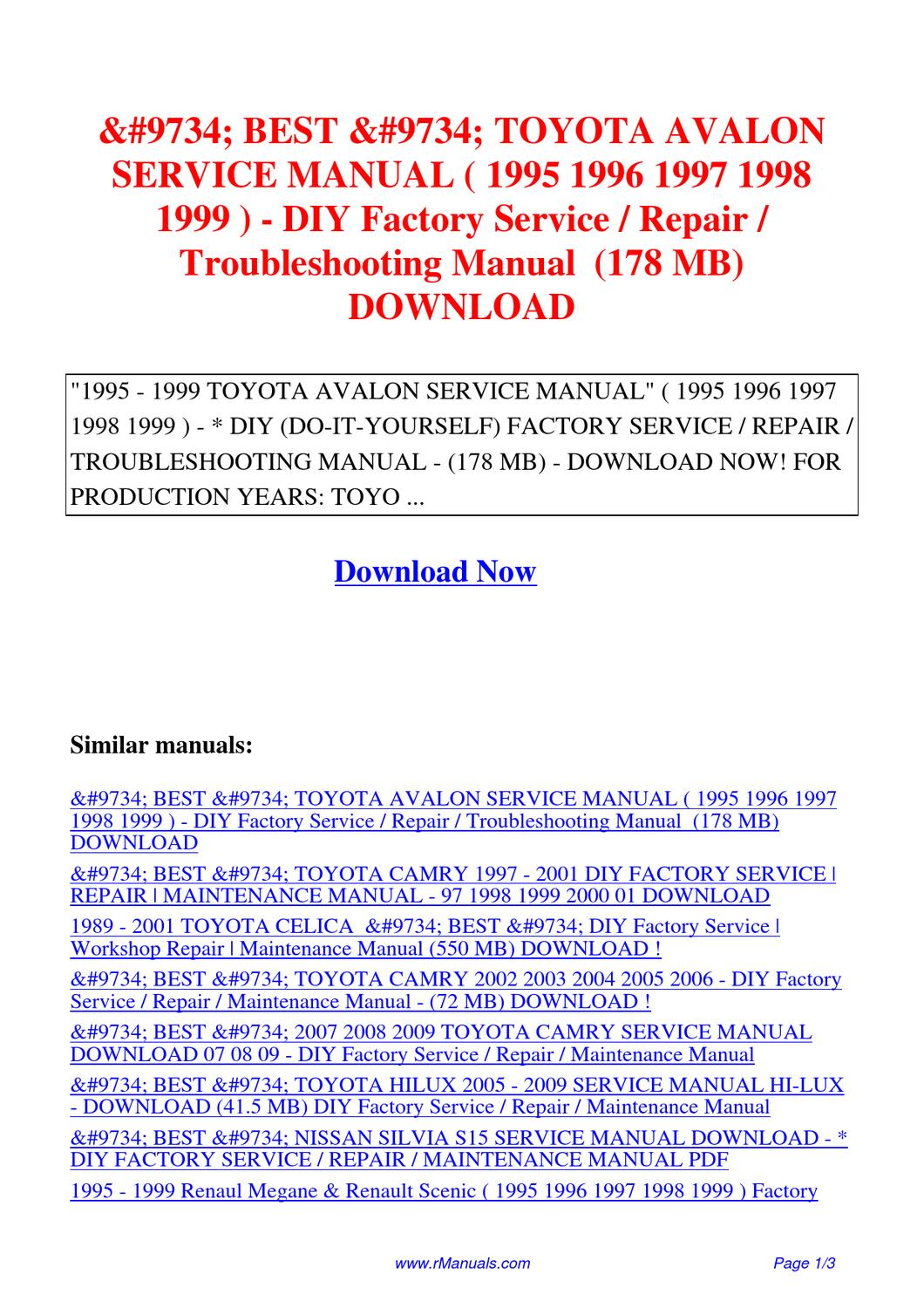 TOYOTA AVALON SERVICE MANUAL 1995 1996 1997 1998 1999-DIY Factory Service  Repair.pdf by David Zhang - issuu