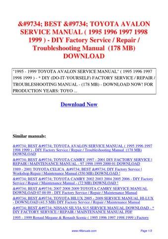 TOYOTA AVALON SERVICE MANUAL 1995 1996 1997 1998 1999 DIY
