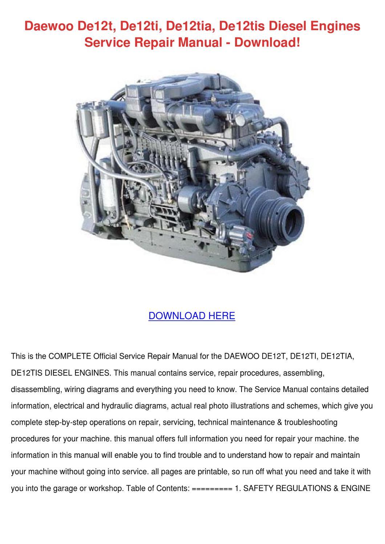 Daewoo De12t De12ti De12tia De12tis Diesel En By Minniemorey Issuu Lanos Engine Diagram