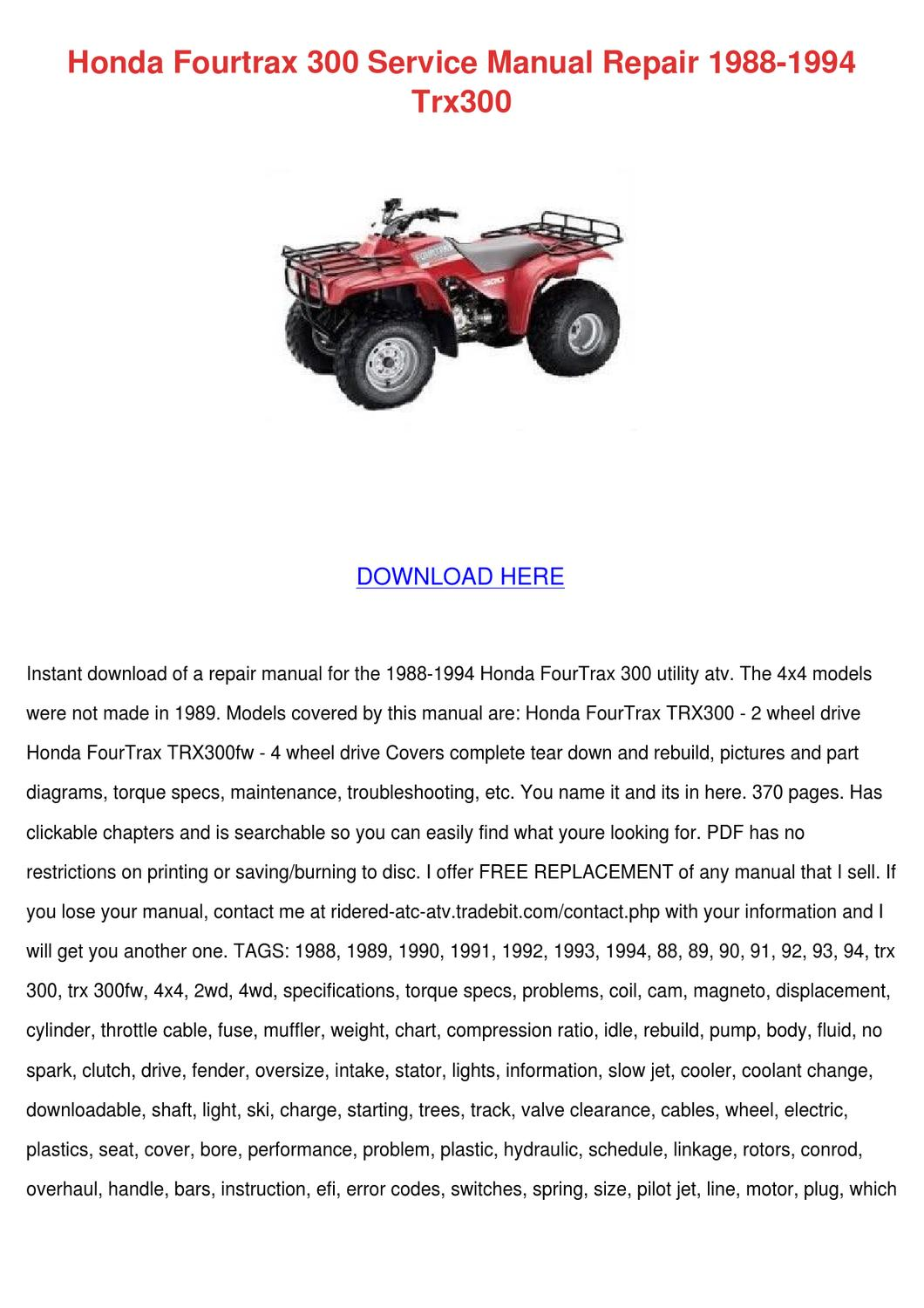 Honda Fourtrax 300 Service Manual Repair 1988 By Eddycartwright Issuu 1986 Trx 125 Wiring Diagram