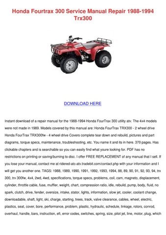 honda fourtrax 300 service manual repair 1988 by eddycartwright issuu rh issuu com 2014 Honda FourTrax Recon TRX250TM Work Utility honda trx 250 tm service manual