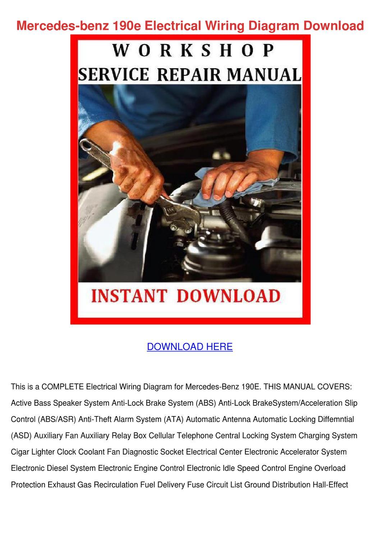[DIAGRAM_38EU]  Mercedes Benz 190e Electrical Wiring Diagram by BryanBergman - issuu | Mercedes Benz 190e Electrical Wiring Diagram Download |  | Issuu