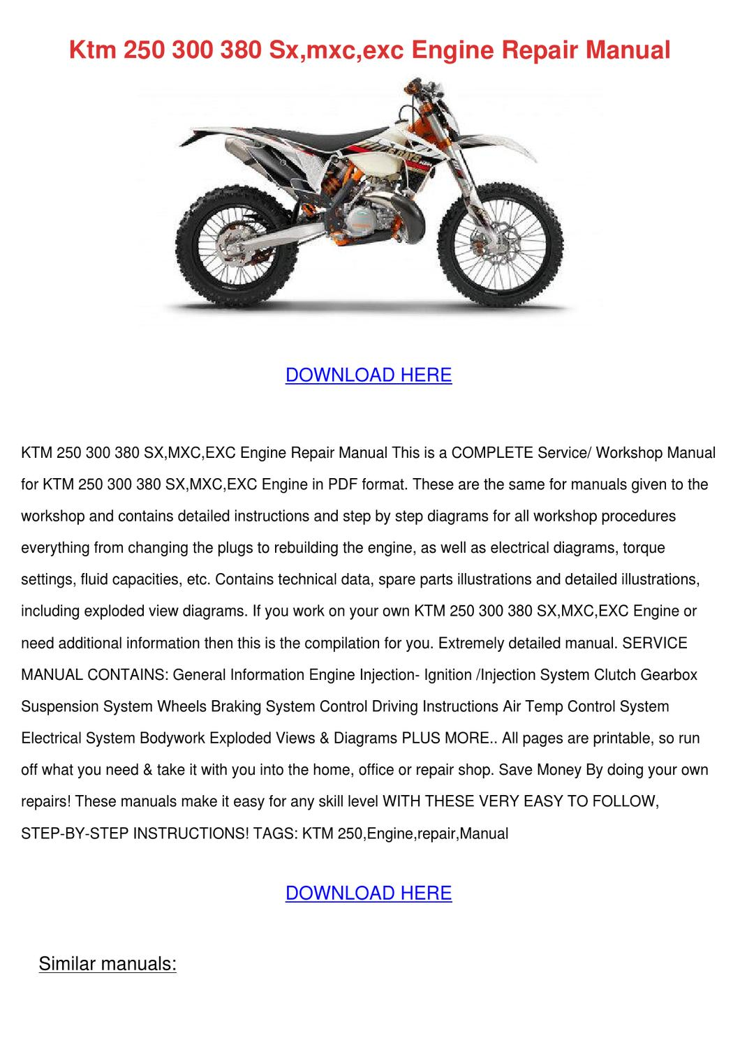 ktm 250 300 380 sxmxcexc engine repair manual by. Black Bedroom Furniture Sets. Home Design Ideas