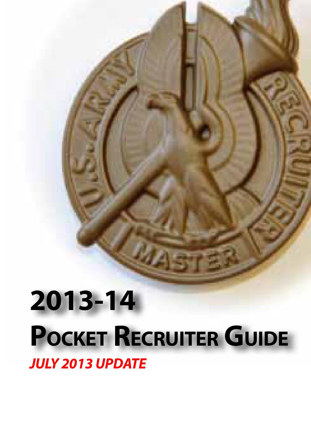 USAREC Pocket Recruiter Guide 2013-14 by US Army Recruiting ...