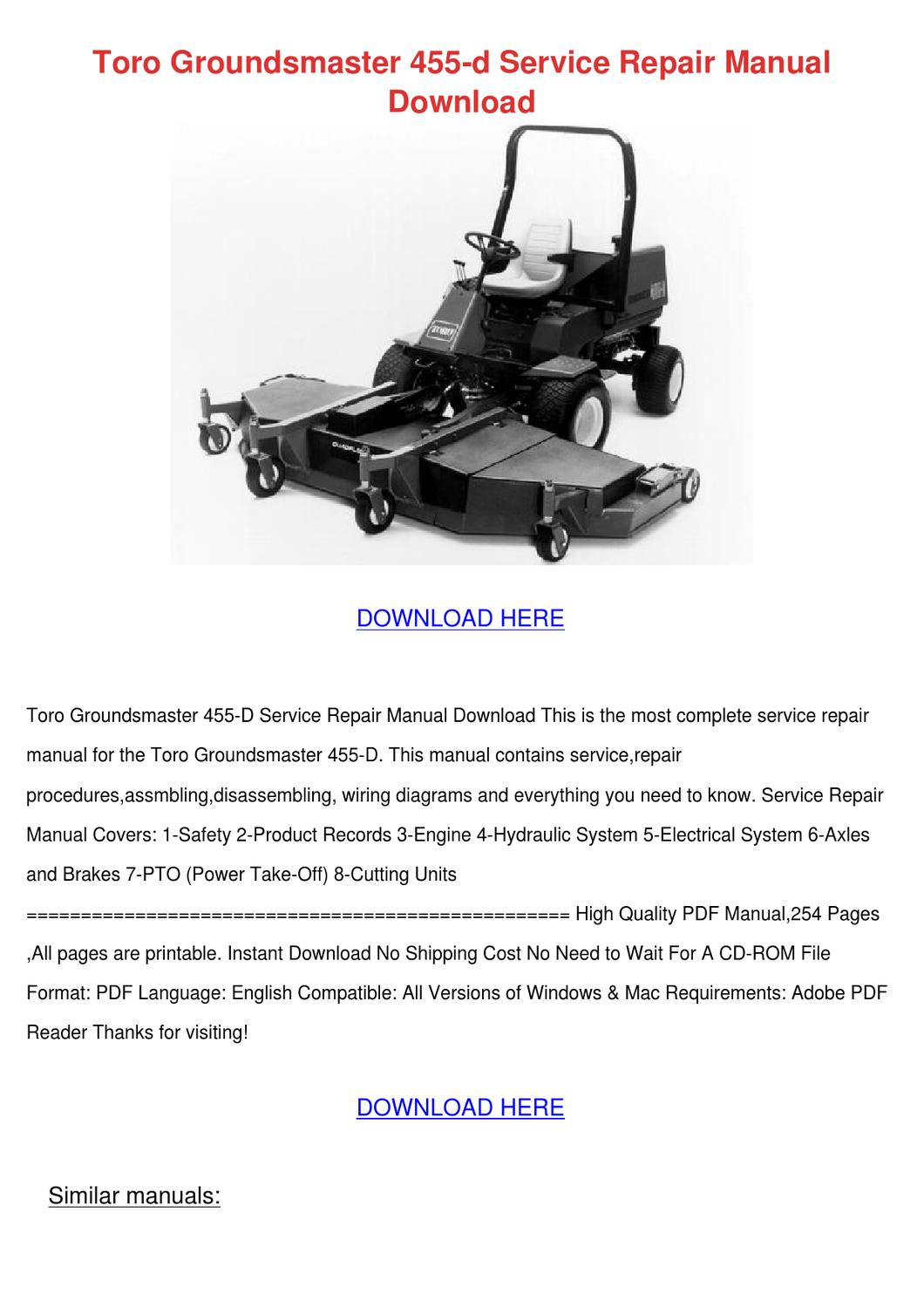 Toro Groundsmaster 455 D Service Repair Manua By
