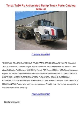 Terex Ta30 Rs Articulated Dump Truck Parts Ca by LoydLoveless - issuu