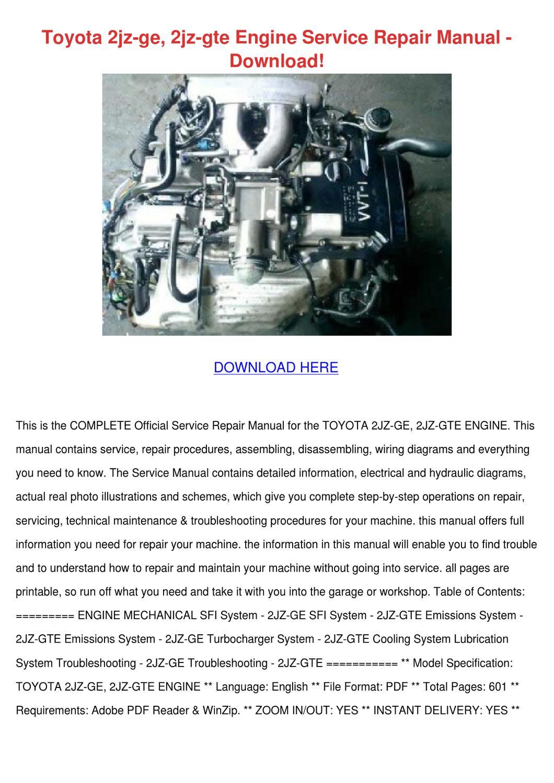 toyota 2jz ge 2jz gte engine service repair m by. Black Bedroom Furniture Sets. Home Design Ideas