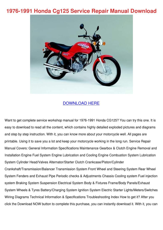 1976 1991 Honda Cg125 Service Repair Manual D by ArmandWebb - Issuu