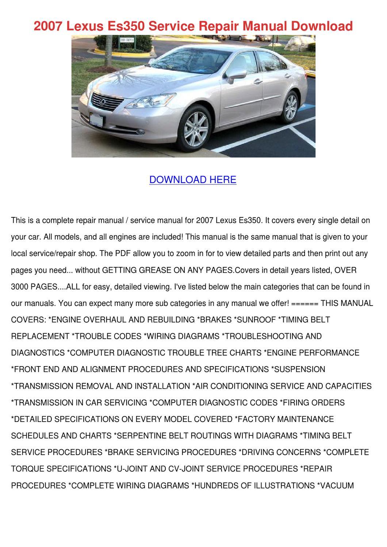 2007 Lexus Es350 Service Repair Manual Downlo by PhilippPeltier - issuu