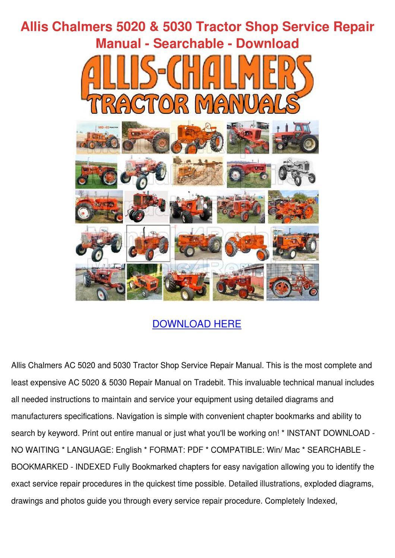 Allis Chalmers 5020 5030 Tractor Shop Service By Kayhsu