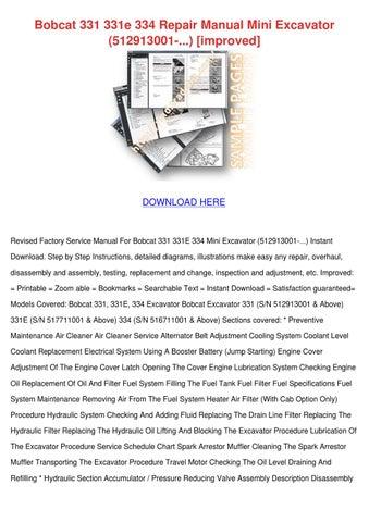Bobcat 331 331e 334 Repair Manual Mini Excava By ArmandWebb