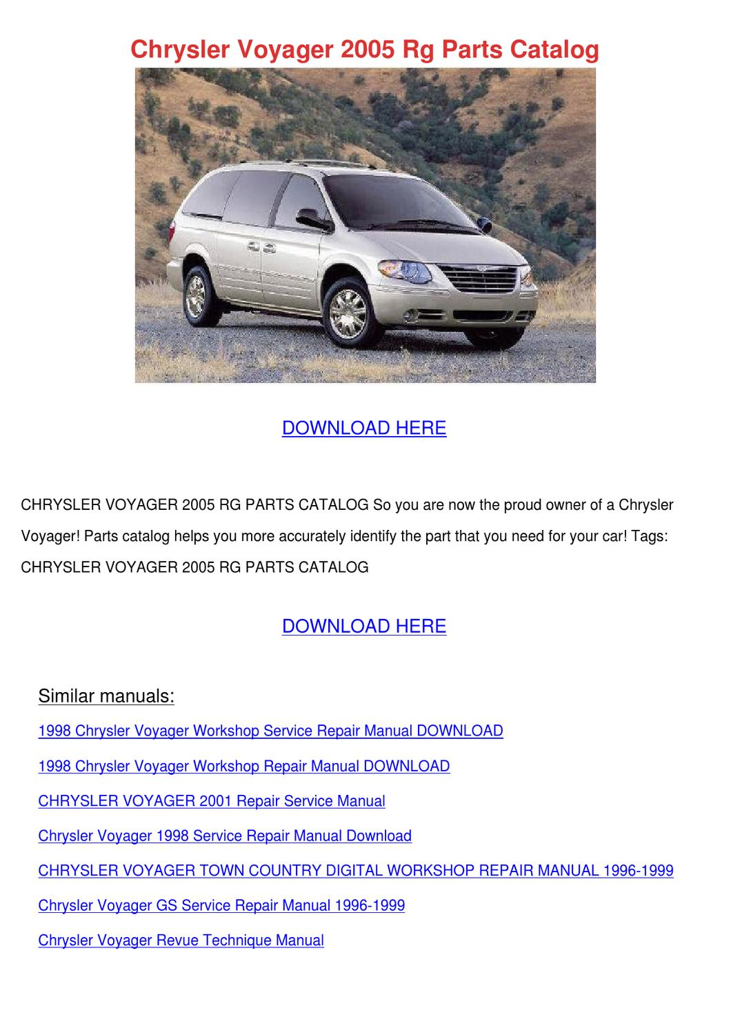 Chrysler Voyager 2005 Rg Parts Catalog by PhilippPeltier - issuu