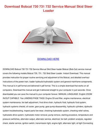 page 1  download bobcat 730 731 732 service manual skid steer loader   download here