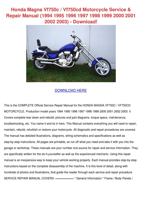 Honda Magna Vf750c Vf750cd Motorcycle Service By