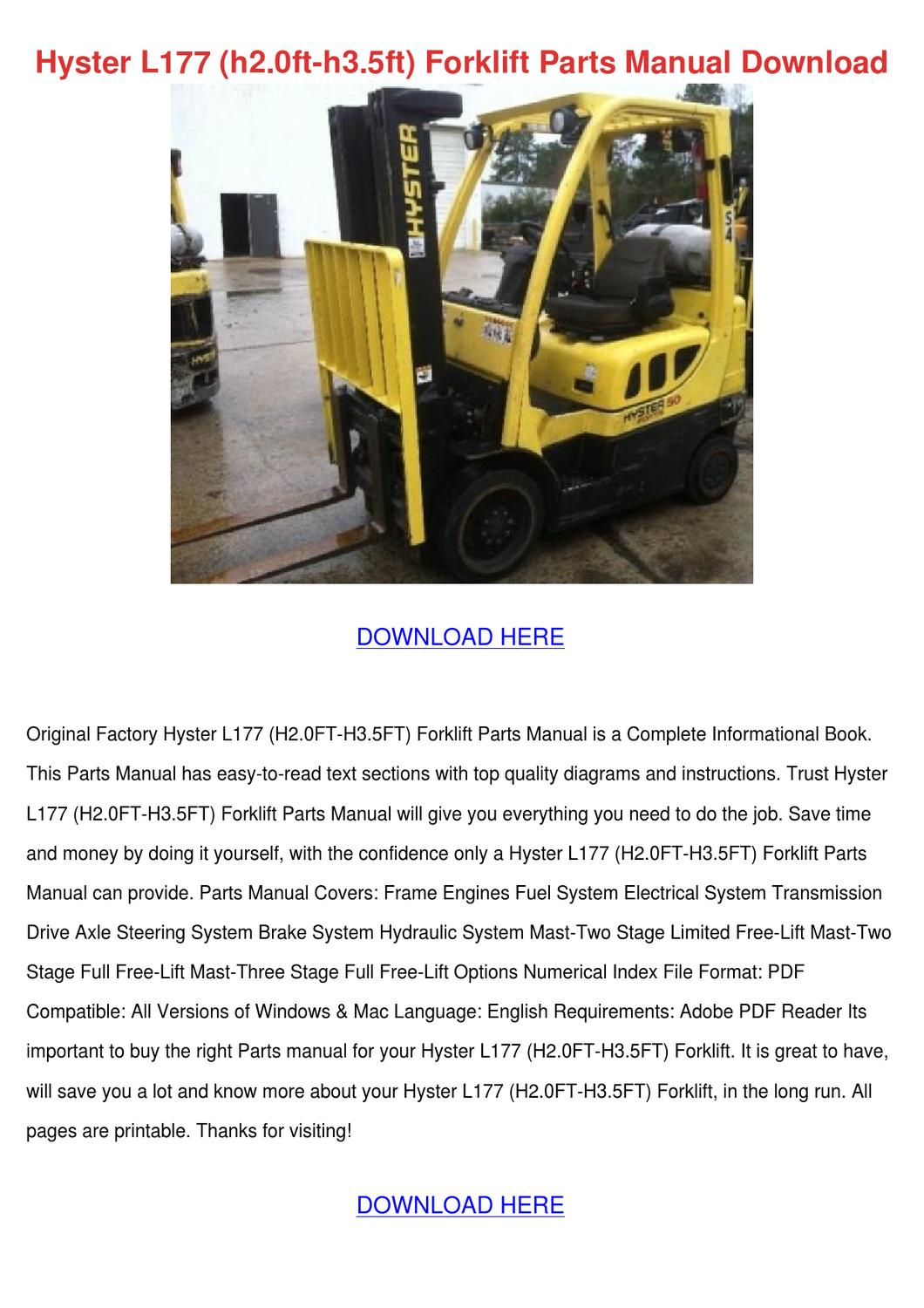 Hyster L177 H20ft H35ft Forklift Parts Manual By