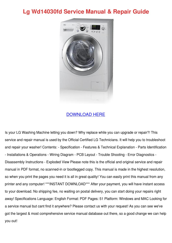Lg Wd14030fd Service Manual Repair Guide by ViolaSpurlock - issuu
