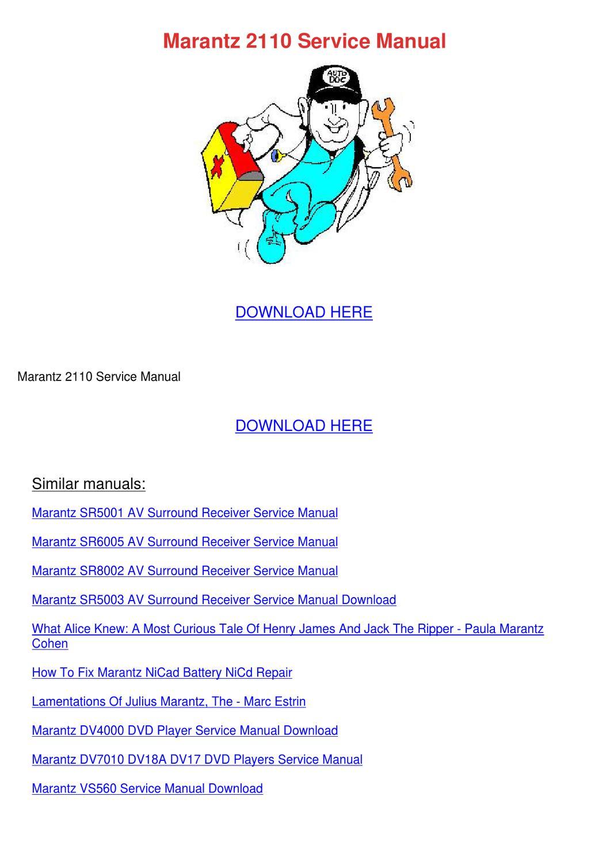 Marantz 2110 Service Manual By Clarabromley Issuu border=
