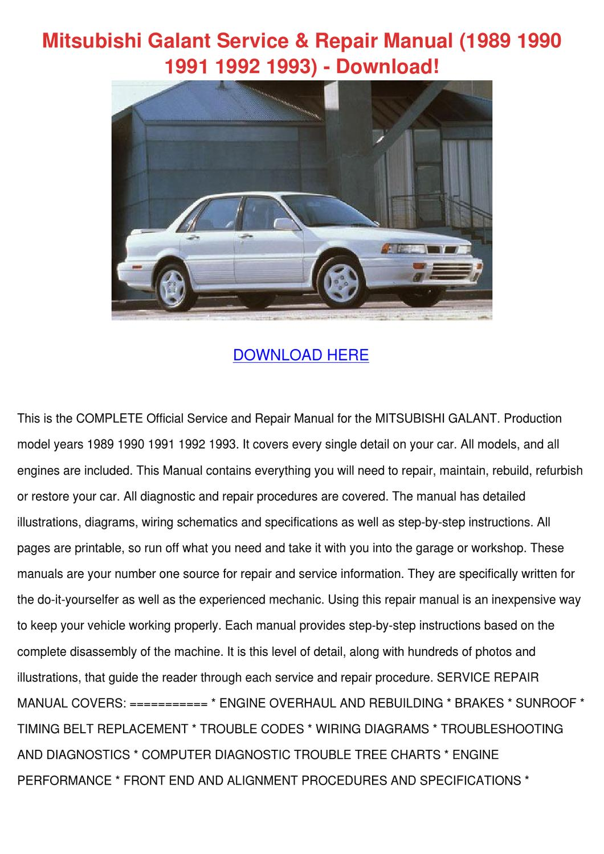 Mitsubishi Galant Service Repair Manual 1989 By border=