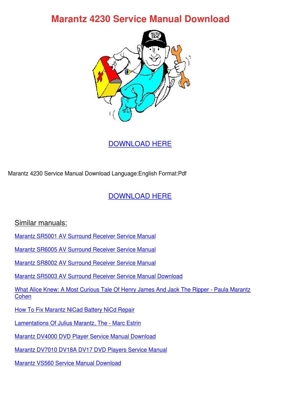 Marantz 4230 Service Manual Download By Kristyjorgensen border=