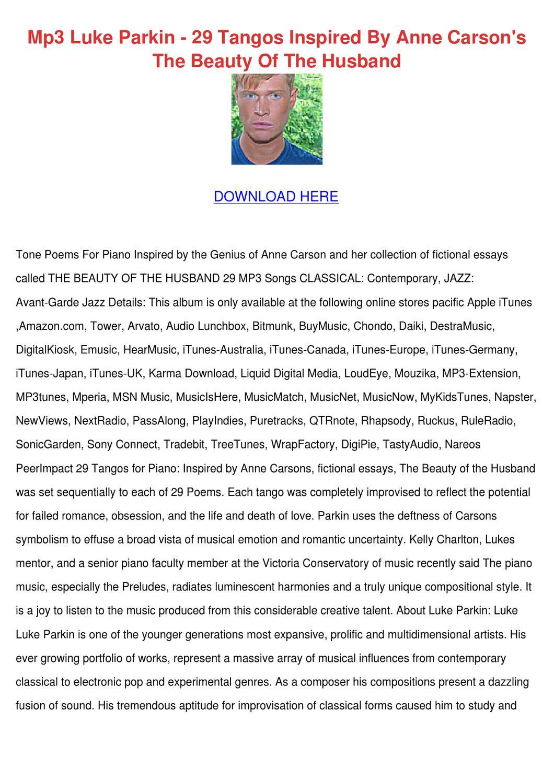 Mp3 Luke Parkin 29 Tangos Inspired By Anne Ca by TeraSnead