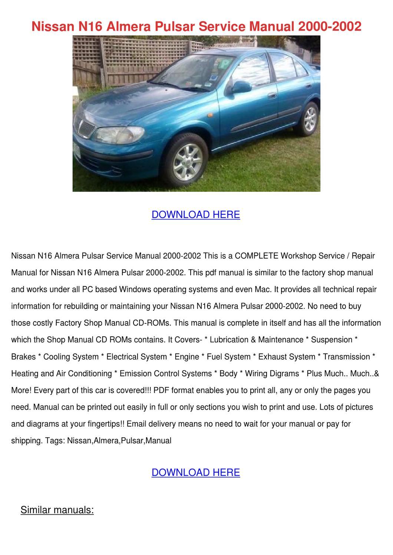 Nissan púlsar 2001 manual de servicio