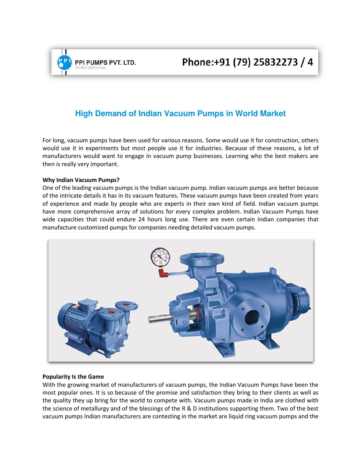 High Demand Of Indian Vacuum Pumps In World Market By Ppipumps Issuu Pump Diagram