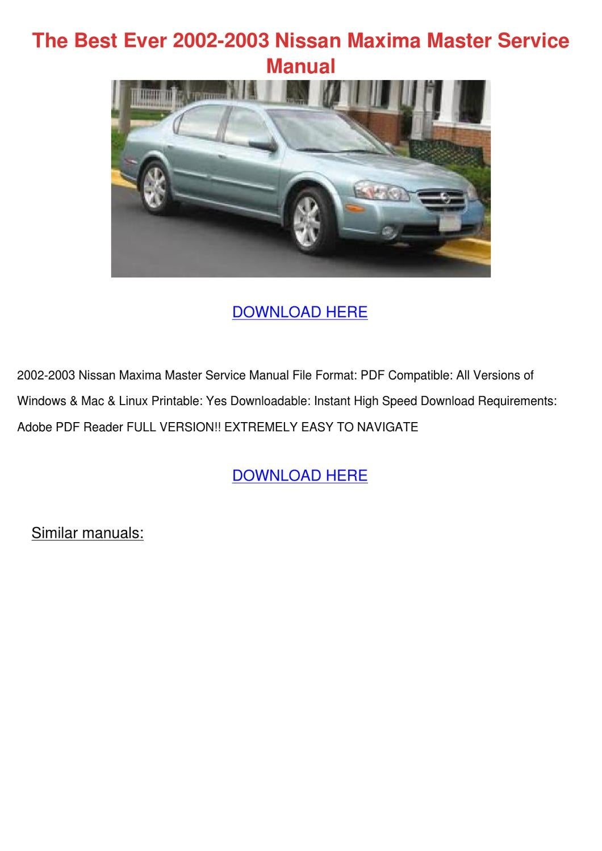 Nissan Maxima PDF Workshop Repair Manuals on YouFixCars.com