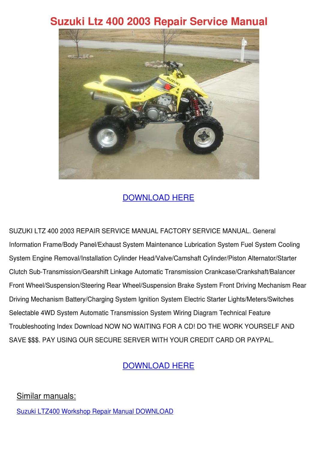 Suzuki Ltz 400 2003 Repair Service Manual By Sammyrobey Issuu 4x4 Wiring Diagram