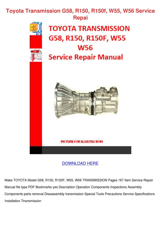 Toyota Transmission G58 R150 R150f W55 W56 Se by SammyRobey - issuu
