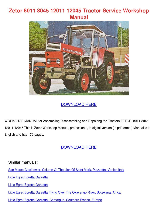Zetor 8011 8045 12011 12045 Tractor Service W by SammyRobey