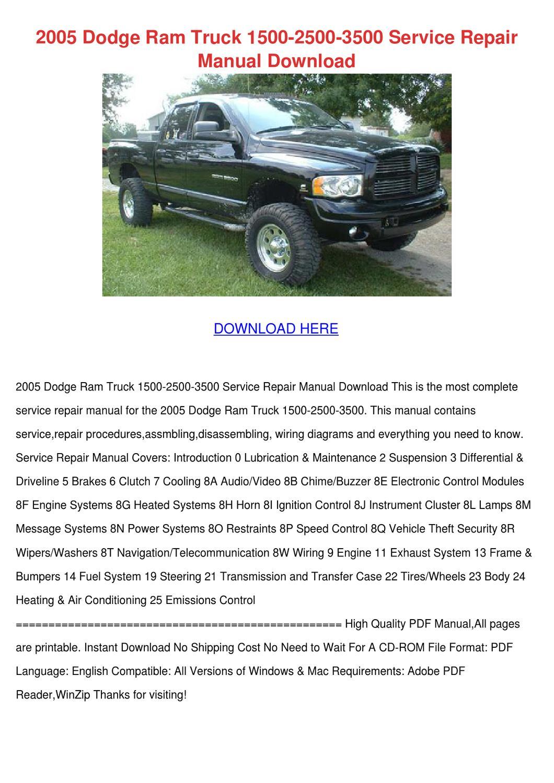 2005 Dodge Ram Truck 1500 2500 3500 Service R by TeriSander