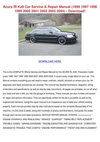 acura rl ka9 car service repair manual 1996 1 by terisander issuu rh issuu com Acura Owners Manual PDF Acura Owners Manual PDF