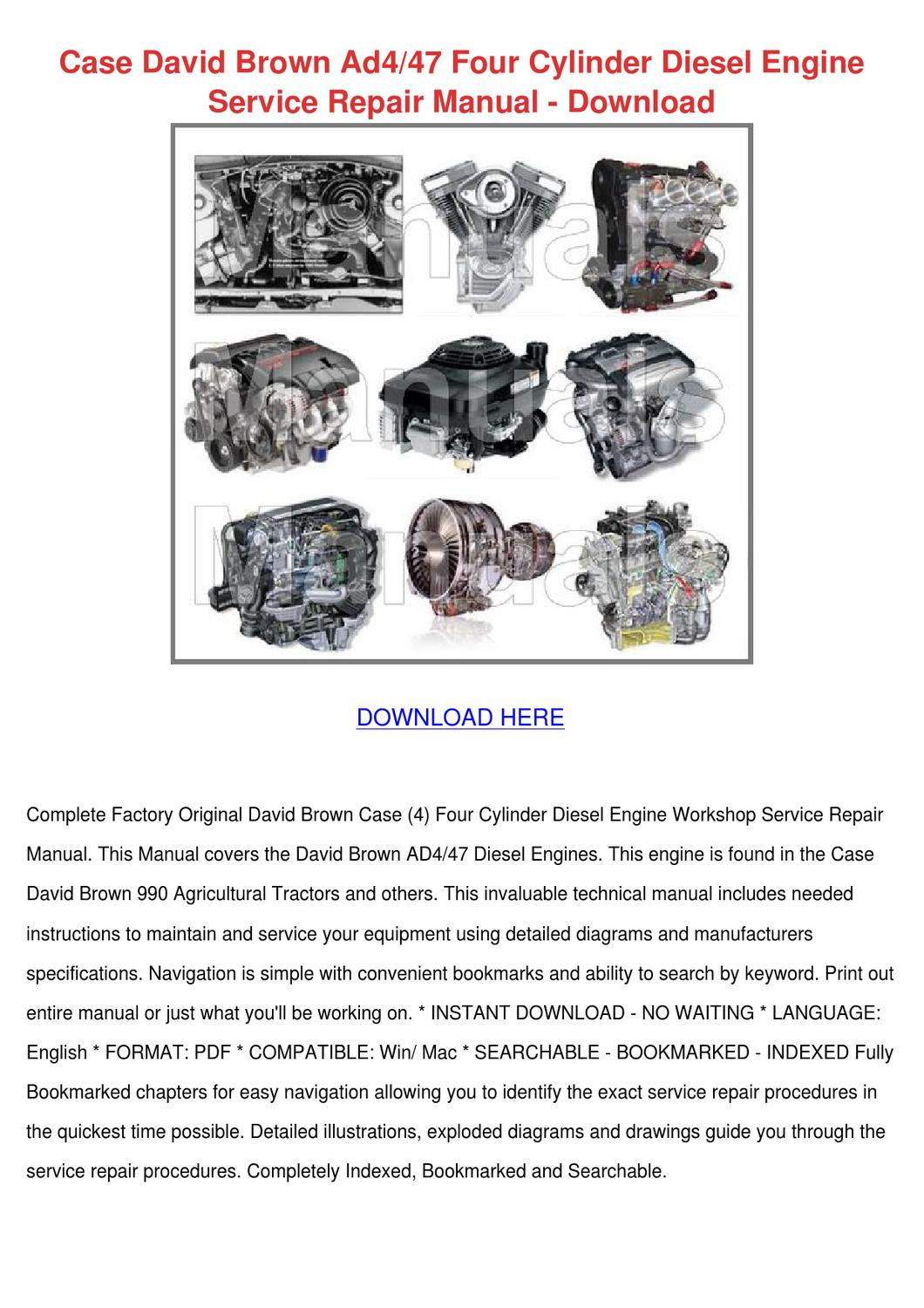 Case David Brown Ad447 Four Cylinder Diesel E By