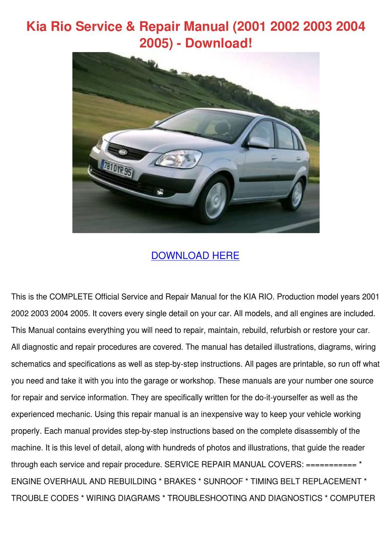 Kia Repair Manual