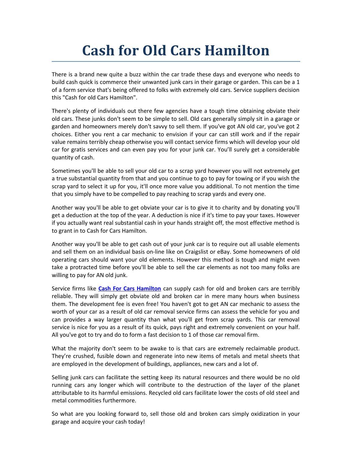 Cash for old cars hamilton 1 by rosh hamton - issuu