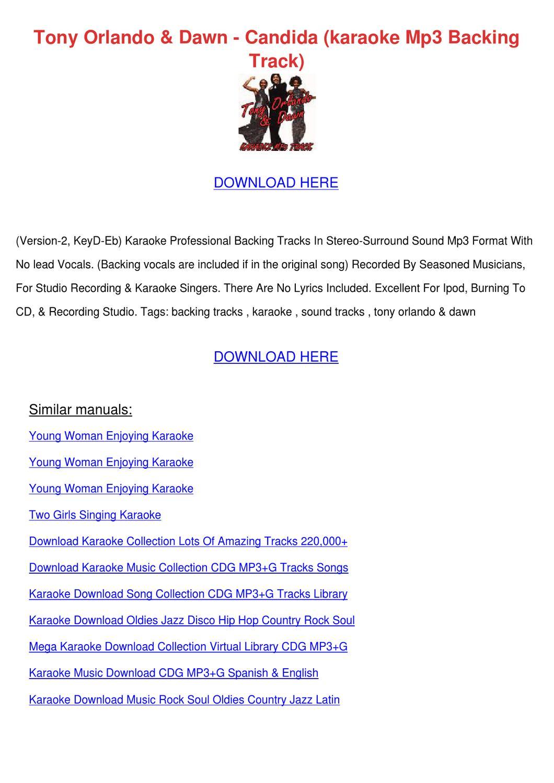 Tony Orlando Dawn Candida Karaoke Mp3 Backing by NellyNapier