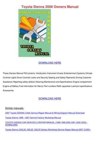 2008 sienna maintenance schedule