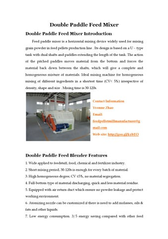 Double paddle feed mixer by Yvonne - issuu