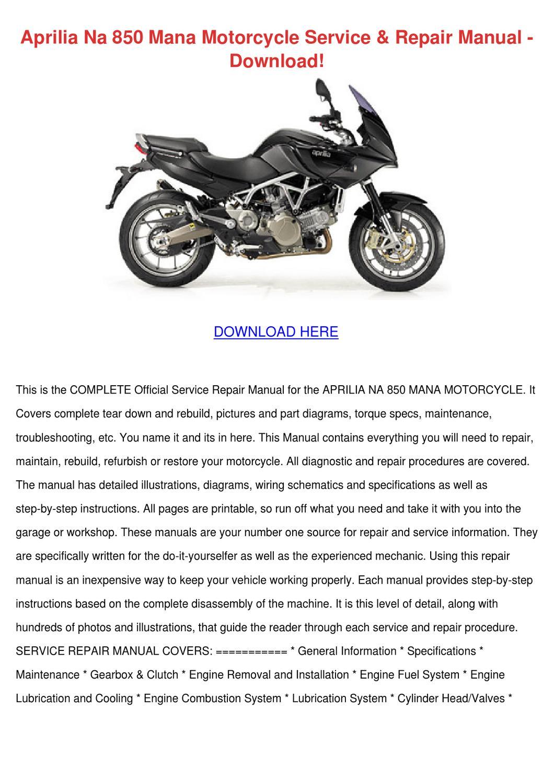 Aprilia    Na    850       Mana    Motorcycle Service Repair by