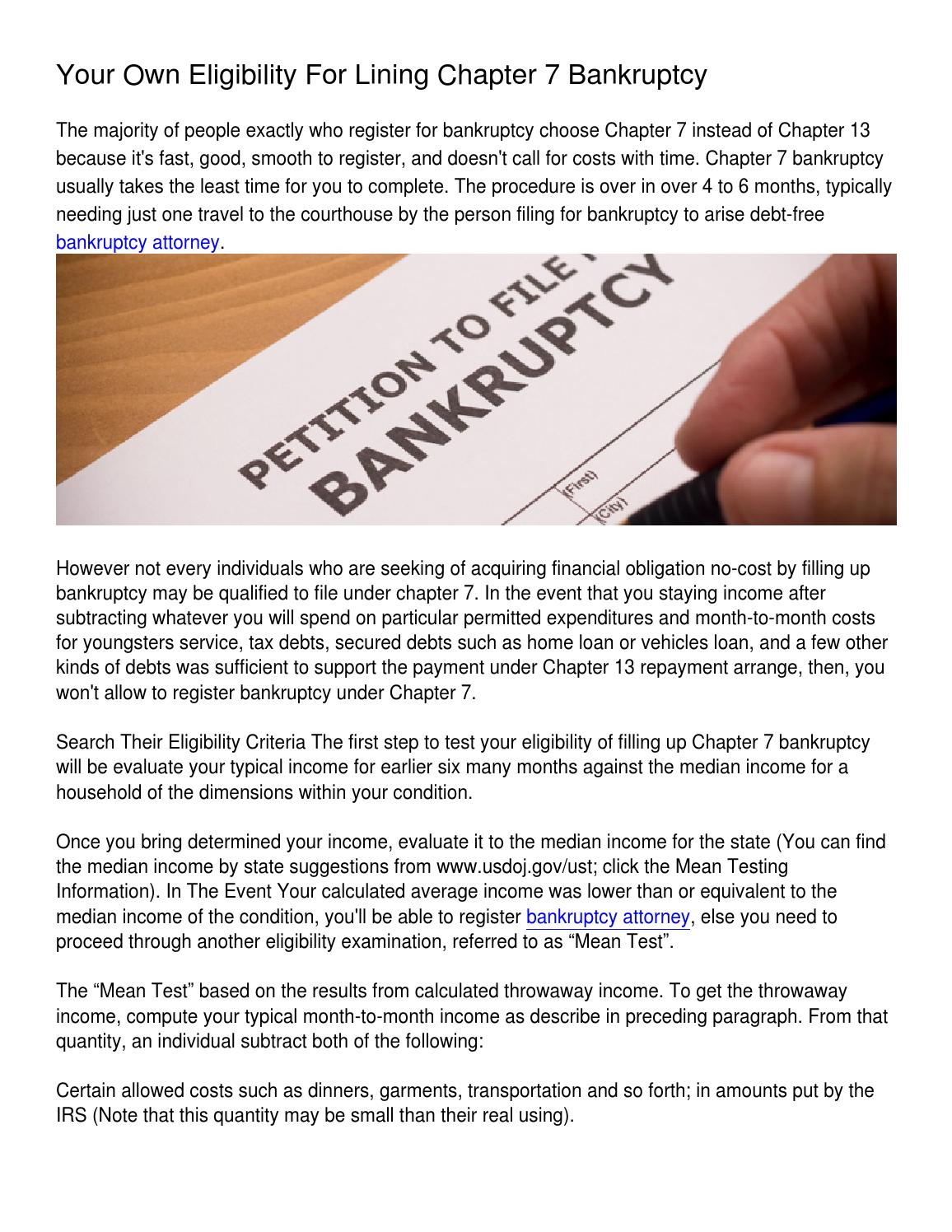 Your Own Eligibility For Lining Chapter 7 Bankruptcy By Mary Prewitt