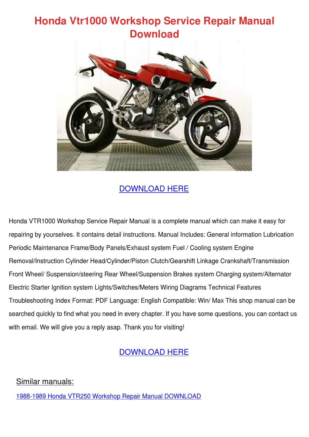 Honda Vtr1000 Workshop Service Repair Manual By Chetbromley Issuu