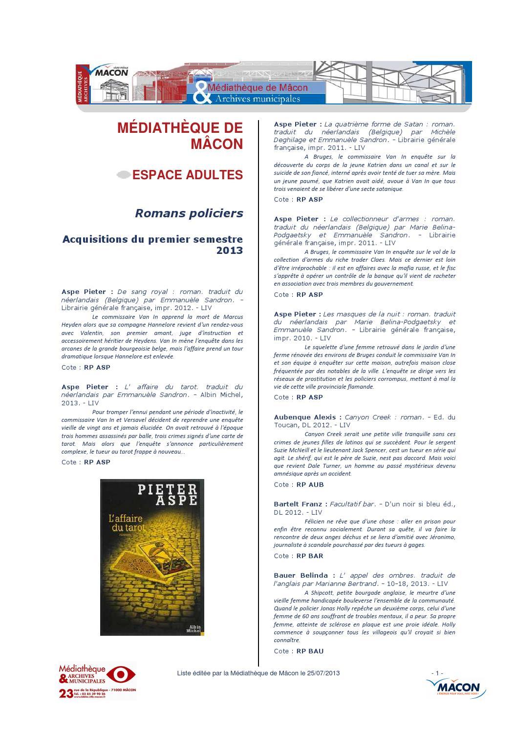 Nouveautés romans policiers 1er semestre 2013 by Médiathèque de Mâcon -  issuu