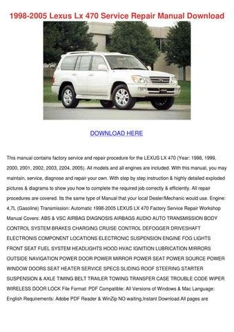 lexus lx470 workshop manual