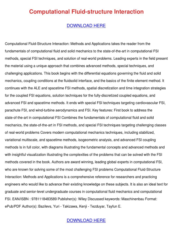 Computational Fluid Structure Interaction By Brycebernal