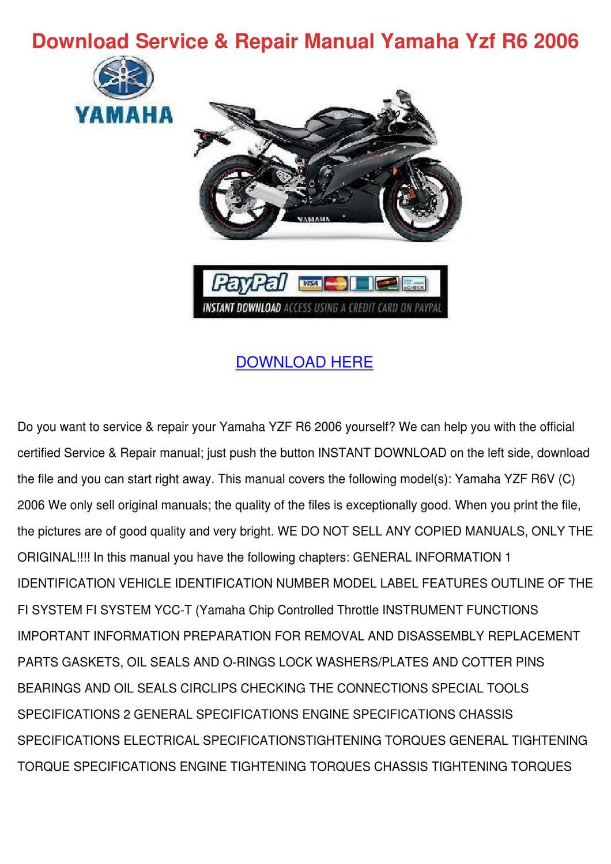 Download Service Repair Manual Yamaha Yzf R6 By Brycebernal Issuu