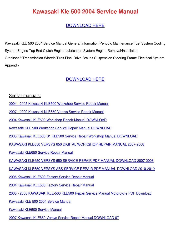 Kawasaki Kle 500 2004 Service Manual by JohnHeld - issuu