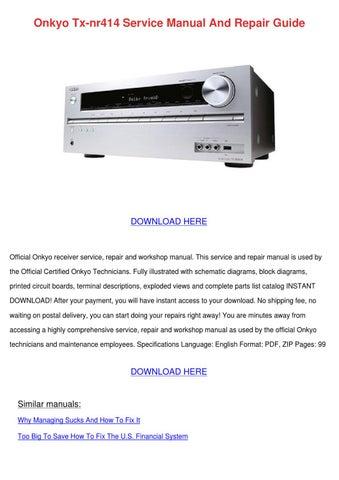 Onkyo Tx Nr414 Service Manual And Repair Guid by BennieBailey - issuu